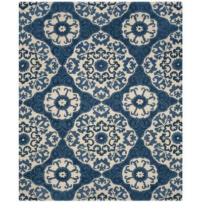 Baumgartner Hand-Tufted Blue/Ivory Area Rug Rug Size: 8 x 10