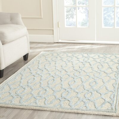 Martha Stewart Hand-Tufted Ivory / Blue Area Rug Rug Size: Rectangle 4 x 6