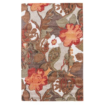 Gustin Brown/Orange Area Rug Rug Size: 36 x 56