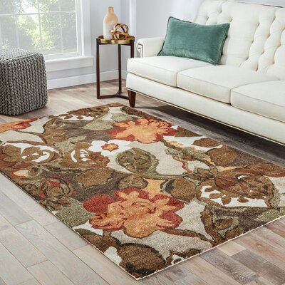 Gustin Brown/Orange Area Rug Rug Size: 10 X 10