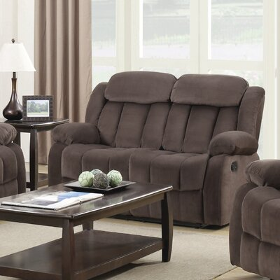 Gibsonia Reclining Loveseat Upholstery: Brown