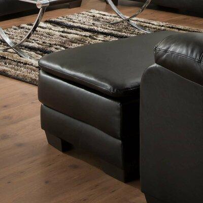 MacDowell Ottoman Upholstery: Soho Onyx Black Bonded Leather Match