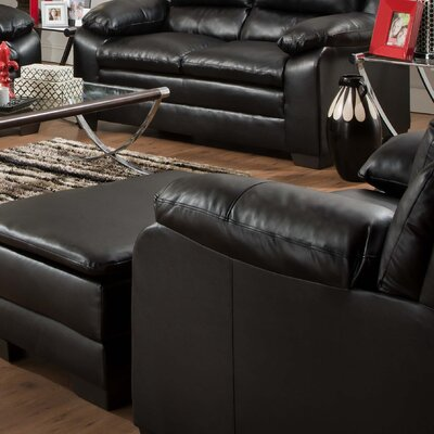 Simmons Upholstery MacDowell Bonded Leather Arm Chair Seat Color: Soho Onyx Black Bonded Leather Match