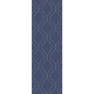 Amenia Hand-Woven Dark Blue Area Rug Rug Size: Runner 26 x 8