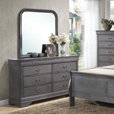 Caldello 6 Drawer Dresser with Mirror
