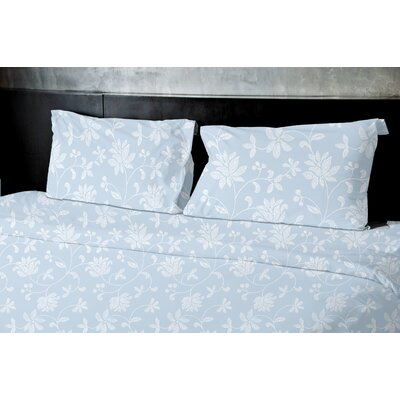 Gore Floral Duvet Set Color: Blue, Size: Queen