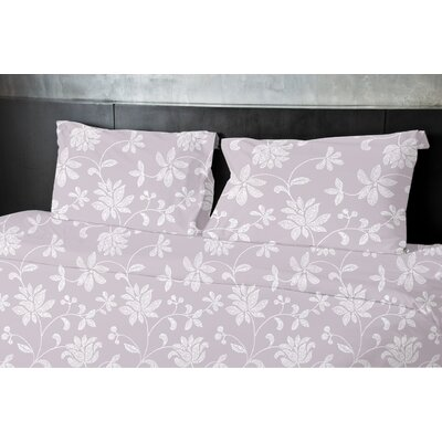 Gore Floral Duvet Set Size: Twin, Color: Purple