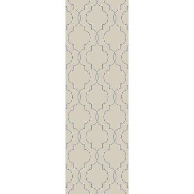 Freudenburg Beige/Cobalt Geometric Rug Rug Size: Runner 26 x 8