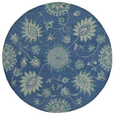 Owensboro Plush Handmade Blue Indoor Area Rug Rug Size: Round 4