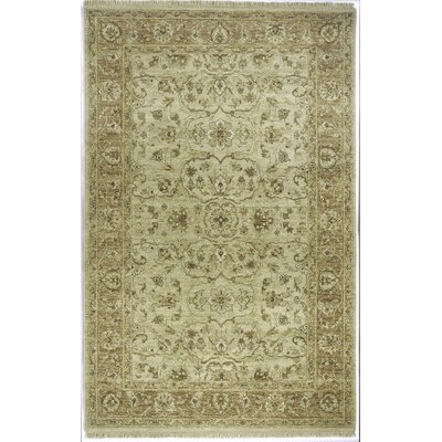 Laplante Hand-Knotted Beige Area Rug Rug Size: 56 x 86