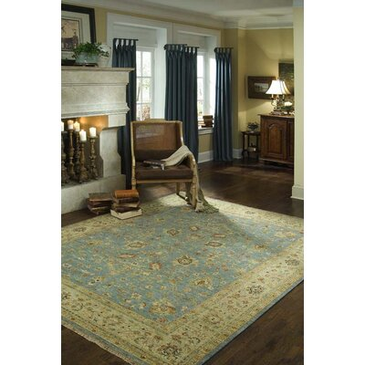 Laplante Hand-Knotted Light Blue/Beige Area Rug Rug Size: 79 x 99