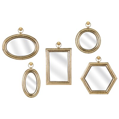 Gold 5 Piece Wall Mirror Set