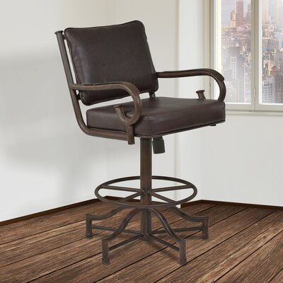 Pettisville 26 inch Swivel Bar Stool with Cushion Upholstery: Ford Brown Pu