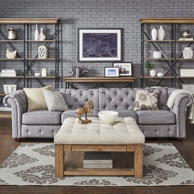 Gowans 4-Seater Button-Tufted Chesterfield Sofa Upholstery: Gray