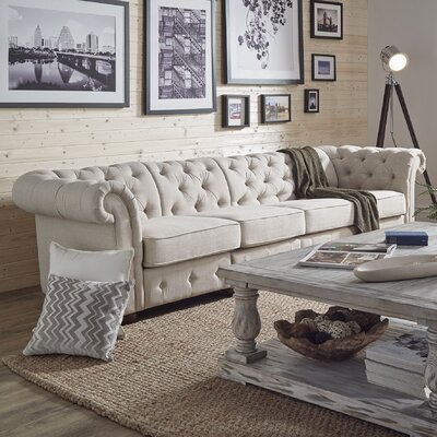 Gowans 4-Seater Button-Tufted Chesterfield Sofa Upholstery: Beige