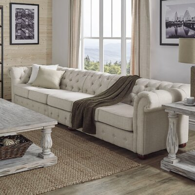 Gowans 5-Seater Button-Tufted Chesterfield Sofa Upholstery: Beige