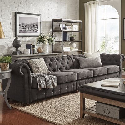 Gowans 5-Seater Button-Tufted Chesterfield Sofa Upholstery: Dark Gray