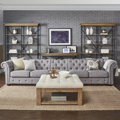 Fairlawn 5-Seater Button-Tufted Sofa Upholstery: Gray