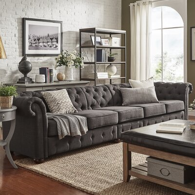 Gowans 6-Seater Button-Tufted Chesterfield Sofa Upholstery: Dark Gray