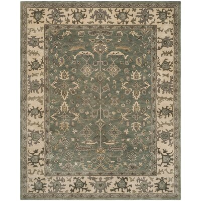 Palace Hand-Tufted Slate/Cream Area Rug Rug Size: Square 7