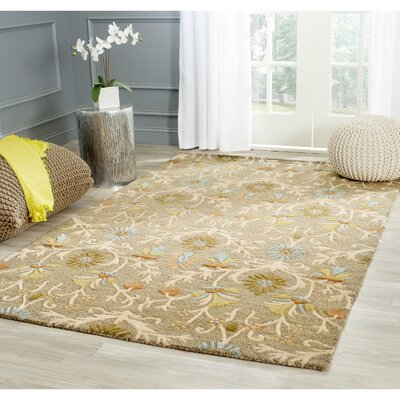Parker Lane Hand-Tufted Wool Moss/Beige Area Rug Rug Size: Square 10
