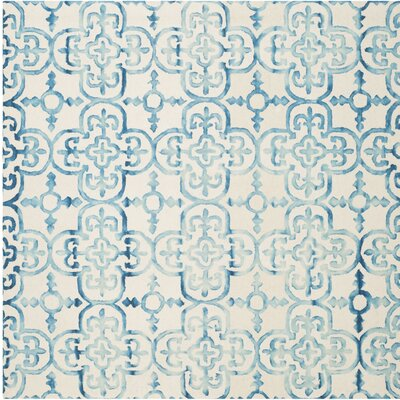 Naples Park Hand-Tufted Ivory/Turquoise Area Rug Rug Size: Square 7 x 7