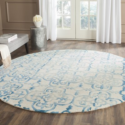Kinzer Hand-Tufted Ivory/Turquoise Area Rug Rug Size: Round 7 x 7