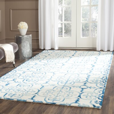 Naples Park Hand-Tufted Ivory/Turquoise Area Rug Rug Size: Rectangle 6 x 9