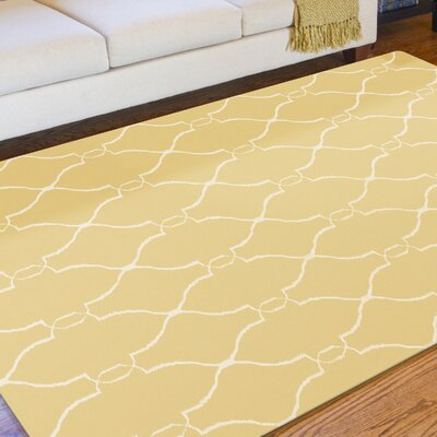 Schaefferstown Hand-Woven Gold Area Rug Rug Size: Rectangle 36 x 56