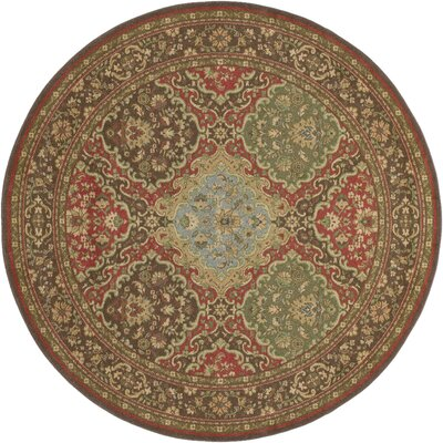 Blumenthal Red/Green Area Rug Rug Size: Round 710