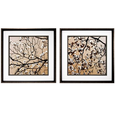 Dogwood Square 2 Piece Framed Graphic Art Set
