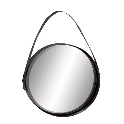 Round Black Metal Wall Mirror