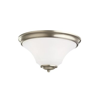 Bushmills 2-Light Flush Mount Finish: Antique Brushed Nickel, Shade Color: Satin Etched