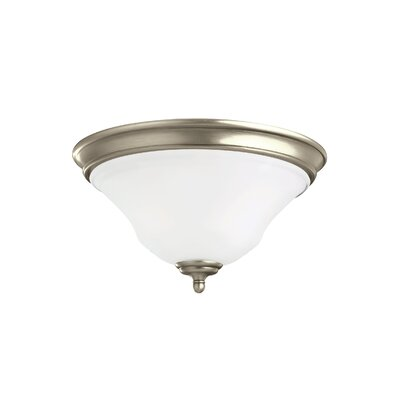 Culley 2-Light Flush Mount Finish: Antique Brushed Nickel, Shade Color: Satin Etched