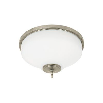 Sowders 3-Light Flush Mount Finish: Antique Brushed Nickel, Shade Color: White Etched