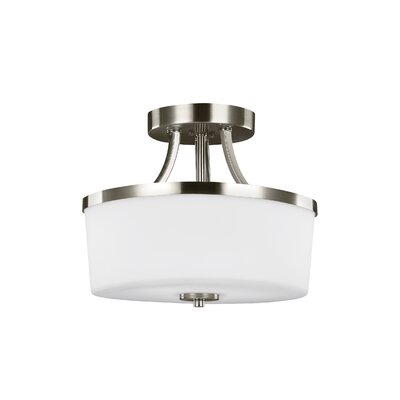 Burnley 2-Light Semi Flush Mount Finish: Brushed Nickel