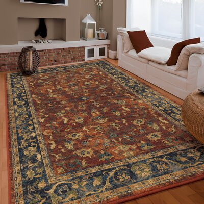 Lilah Floral Trail Red/Beige Area Rug Rug Size: 53 x 76