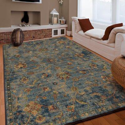 Lilah Vintage Vines Blue/Beige Area Rug Rug Size: 53 x 76