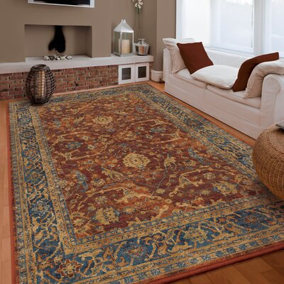 Lilah Red/Blue Area Rug Rug Size: 53 x 76