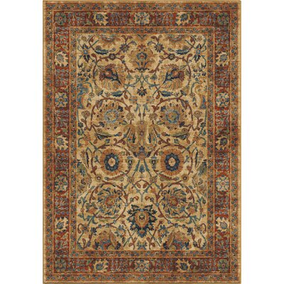 Lilah Border Moroccan Beige/Red/Blue Area Rug Rug Size: 53 x 76