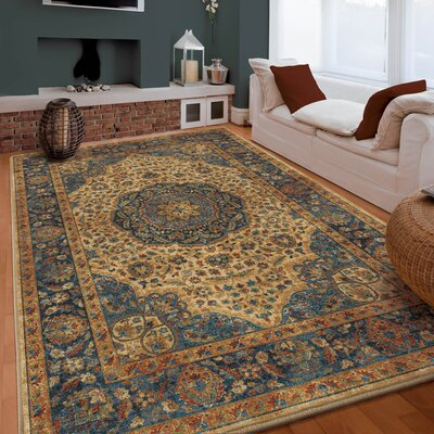 Lilah Beige/Red Area Rug Rug Size: 53 x 76