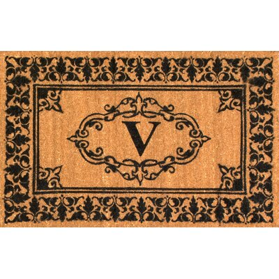 Llewellyn Letter Doormat Rug Size: 3' x 6', Letter: V