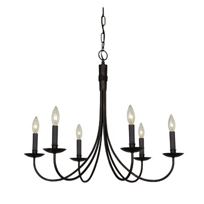 Gavin 6-Light Candle-Style Chandelier Finish: Black