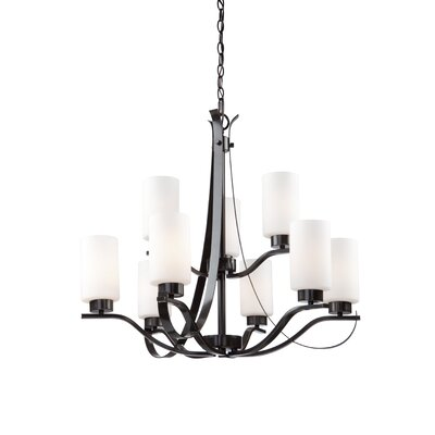 Gerald 9-Light Shaded Chandelier Finish: Oil Bronze