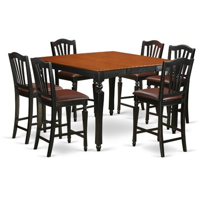 Ashworth 7 Piece Counter Height Dining Set Finish: Black and Cherry, Chair Upholstery: Faux Leather