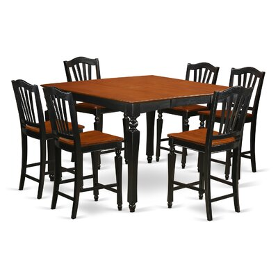 Ashworth 7 Piece Counter Height Dining Set Finish: Black and Brown, Chair Upholstery: Wood Seat