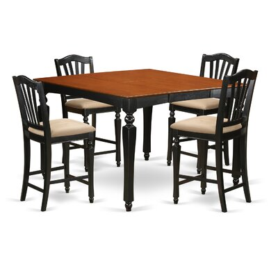 Ashworth 5 Piece Counter Height Dining Set Finish: Black and Cherry, Chair Upholstery: Microfiber