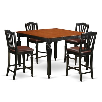 Ashworth 5 Piece Counter Height Dining Set Finish: Black and Cherry, Chair Upholstery: Faux Leather
