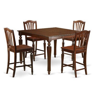 Ashworth 5 Piece Counter Height Dining Set Finish: Mahogany, Chair Upholstery: Microfiber