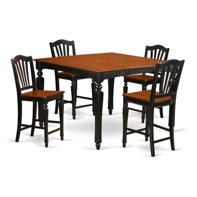 Ashworth 5 Piece Counter Height Dining Set Finish: Black and Brown, Chair Upholstery: Wood Seat
